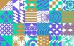 多彩趣味几何图形无缝拼接背景矢量素材 -包含EPS源文件
