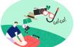 10款时下流行夏日海滩旅行旅游活动插画夏季海边PSD漫画素材下载
