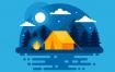 12款扁平化渐变风景自然风光游戏场景森林山川户外露营矢量AI设计素材