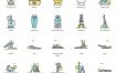 60个瑜伽生活方式图标优质设计素材下载