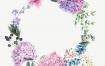森系小清新手绘花彩风婚礼邀请函贺卡片封面海报背景模版设计素材