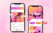 7款优质面试作品时尚购物APP单页风格展示iphone手机样机效果UI界面PSD设计素材下载