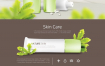 16款绿色植物鲜花化妆品粉底护肤品香水女孩网页海报PSD设计素材