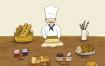 10款西点点心面包蛋糕咖啡冰激凌杯子托盘插画海报PSD设计素材