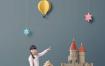 18款创意六一儿童节冰激凌想象力梦幻梦想探险折纸风格摄影海报PSD模板素材
