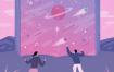 10款唯美星空晚安系列手绘手机壳壁纸插图插画PSD素材