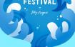 17款唯美夏季海报模板风景插图夏日创意插画游泳旅游度假PSD设计素材