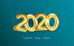 5款金色华丽2020新年海报PSD分层素材[含矢量格式]