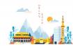 8款韩国旅游风景美食地标建筑文化海报地图手绘插画矢量图片素材