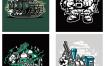 99款时尚潮流嘻哈手绘怪兽涂鸦抱枕装饰插画手机壳T恤矢量ai图案素材