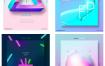 13款新创意时尚渐变几何三角圆形月亮霓虹灯城市星空海报PSD设计素材