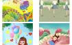 82款创意风水彩可爱卡通六一儿童节手绘插画促销活动PSD设计素材模板