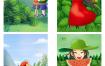 49款手绘立夏插画踏青夏天冷饮文艺治愈清新森林花园女孩PSD素材模板