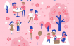 10款卡通小人聚会书展花博会音乐电影节夜市宣传海报AI矢量素材