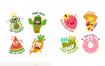 25款可爱卡通动物人物漫画蔬菜食物儿童贴纸图案AI矢量设计素材