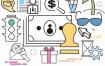 20款线性化手绘生活通讯学习旅游金融贸易AI矢量设计素材源文件