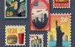 17款海外旅游地标建筑纪念邮票手绘卡通AI矢量旅行社宣传海报素材