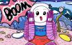 20款创意手绘抽象插画儿童涂鸦幻想太空外星海报背景PSD模板设计素材