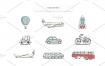 手绘旅行自由行度假地图山脉电子手账日记本PNG免抠设计素材
