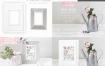 简约白色浅灰桌面5寸相框摆放布置PSD样机模型预览展示水彩画