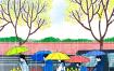 7款手绘水彩雨季下雨天撑伞林荫道行人PSD模板设计素材装饰画芯