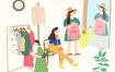 10款人物插画手绘生活购物超市集市爆米花日常生活PSD模板素材