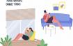 25款手绘卡通人物独自在家工作学习消毒打扫卫生AI矢量设计素材