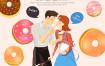 30款韩国手绘水彩插画情侣恋人520告白情人节图片海报设计PSD素材模板