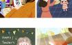 16款教师节插画海报psd源文件打包下载