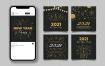 12款2021年新年快乐横幅与现实的金色数字等矢量素材打包下载