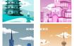 48款古建筑中国风国潮城市旅游景观海报插画扁平风印象地标PS设计素材