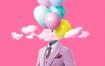 11款时尚炫彩气球烟雾泼墨油漆海报PSD格式