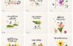 14款卡通手绘植物花朵插画日历台历PSD素材