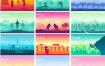 43款山水风景户外运动旅游旅行插画EPS素材