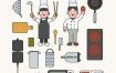8款卡通音乐教育厨师海鲜游泳插花农业插图AI格式