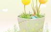 9款小清新植物风景景色插画背景PSD素材