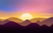 50款精品高清风景2.5D植物山脉山水装饰画湖山远景卡通插画PSD分层素材