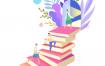 4款书本读书书籍学习图书馆插画AI格式