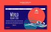 8款国外时尚抽象海洋生物插画海报PSD格式