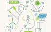 8款新能源关爱老人公益医疗科技插画AI格式