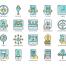 88个数码营销广告和搜索引擎优化的多彩色图标素材下载