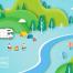 9款精美风景旅游森林插画插图夏季游泳旅游度假海边AI矢量素材