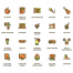 104个扁平化风格的个人爱好图标素材下载