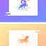 14款炫彩扁平化动物海豚骏马狗牛羊鸡logo标志图标psd分层设计素材