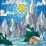 15款山水风景彩色欧式教堂玻璃效果插图矢量设计素材下载
