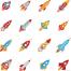 5组卡通火箭图案矢量素材