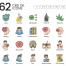 62个医疗健康神经麻醉相关图标设计素材下载