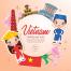 世界各地国际旅游特色卡通民族服饰地标建筑美食文化矢量插画素材