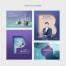 8款商务人士白领手机平板水果键盘海报PSD设计素材