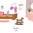 10款家具卡通插画插画家居生活摆设海报PSD分层设计素材